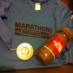 Swag from the race. Got a bottle along with my medal when I finished